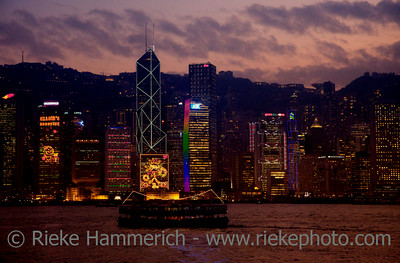 Skyline of Hong Kong at Night - Christmas Lights on Skyscrapers of Hong Kong Island, China, Asia