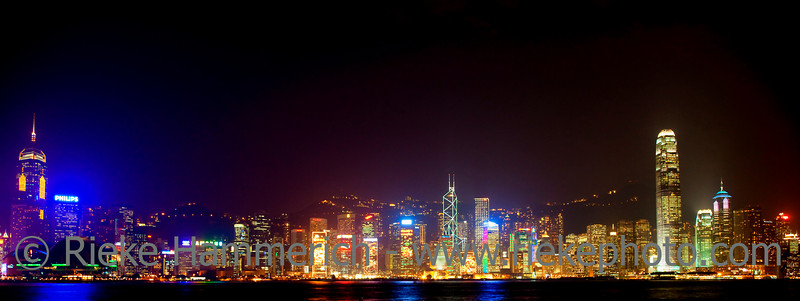 Illuminated Skyline of Hong Kong - From Central Plaza to Two IFC on Hong Kong Island at Night, China, Asia