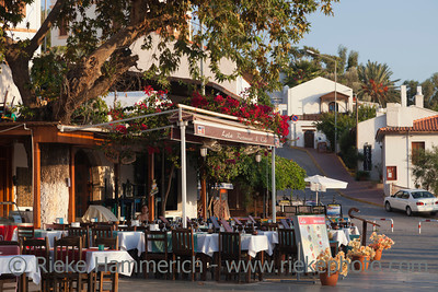 Kas, Turkey - October 15, 2009: Restaurant and Cafe Lola in the village Kas in Turkey. This restaurant is located on the central town sqare Cumhuriyet Meydani and offers a wide range of turkish food. Kas is a small fishing, diving, yachting and tourist town and part of Antalya Province.