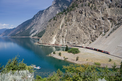 Long Freight Train - Canadian Pacific Railway on Seton Lake, British Columbia, Canada