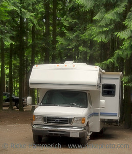 motorhome on a campground with slide-out - manning provincial park, canada - adobe RGB