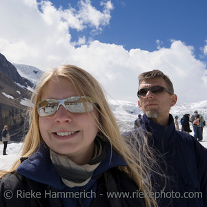 family and mass tourism in the rockies - columbia icefield, jasper national park, canada - adobe RGB