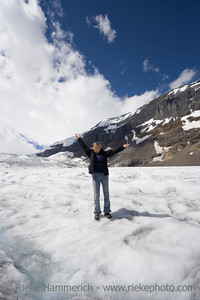 young woman in the rockies - athabasca glacier, jasper national park, canada - adobe RGB