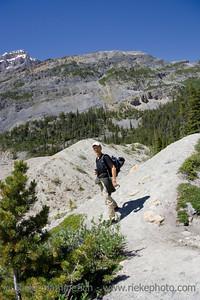 mature man mountain hiking - canadian rockies, banff national park - adobe RGB