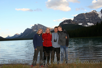 happy family in the rockies - waterfowl lake, banff national park, canada - adobe RGB