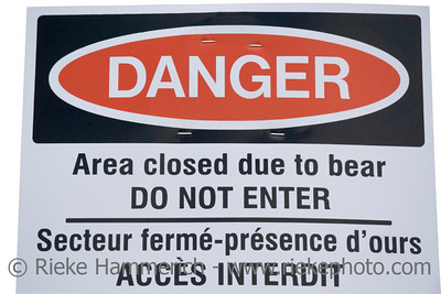 warning sign grizzly bear alert - banff national park, canada - adobe RGB