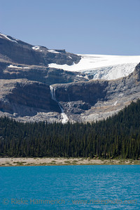 bow glacier with bow glacier falls and bow lake in the canadian rockies - banff national park, canada - adobe RGB