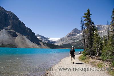 hiker on bow lake - banff national park, canada - adobe RGB