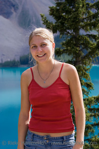 young woman in the rockies - moraine lake, banff national park, canada - adobe RGB