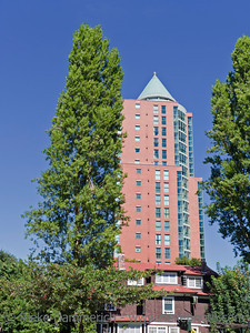 High-Rise Residential Building behind Cottage - Vancouver, British Columbia, Canada