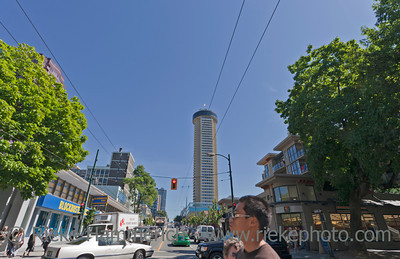 Vancouver, British Columbia, Canada – August 5, 2005: Street Scene on Robson Street and Cardero Street Intersection in the West End of Vancouver, Canada. Robson is Vancouver's most famous shopping street.