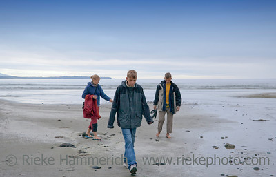 Family on Long Beach of Pacific Rim National Park - Vancouver Island, British Columbia, Canada