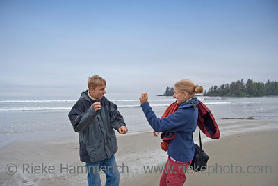 Brother and Sister having Fun - Long Beach, Pacific Rim National Park, Vancouver Island, British Columbia, Canada