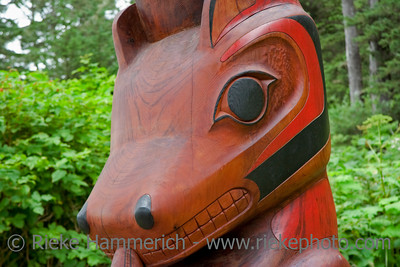 Portrait of a Wooden Bear - Part of a Totem Pole - Pacific Rim National Park, Vancouver Island, British Columbia, Canada - Totem Pole of the Ucluelet First Nation on the South Beach Trail