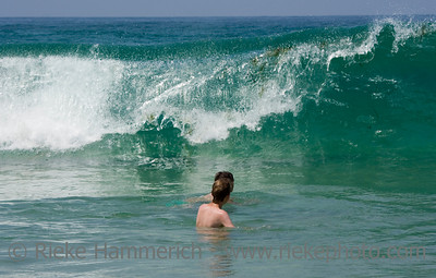 big wave and small swimmers - atlantic ocean, cote d'argent, france - adobe RGB