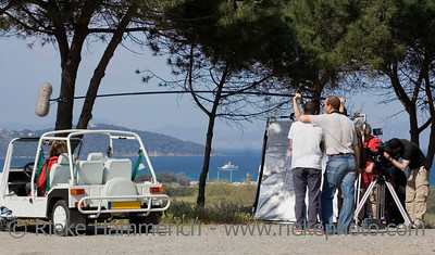 film crew at work - french riviera, mediterranean sea - adobe RGB