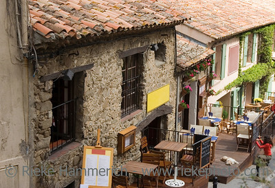 restaurants in a medieval village - french riviera, mediterranean sea - adobe RGB