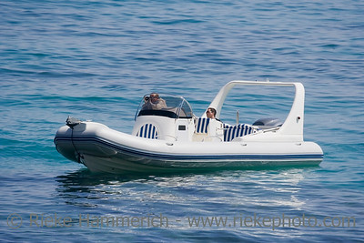 speedboat stopping on the ocean - saint-tropez, mediterranean sea - adobe RGB