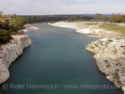 View from Pont du Gard to the river Gardon in the South of France