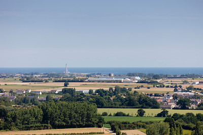 Panoramic View of Peninsula Cotentin in Basse Normandy, France - In the distance the lighthouse 'Phare de Gatteville'in Barfleur, Basse Normandy, France