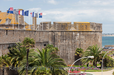 SAINT-MALO, FRANCE - JULY 6: Ramparts and medieval castle built in 14th century in the old town of Saint-Malo, France on July 6, 2011. Saint-Malo is the main tourist attraction of Brittany in France.