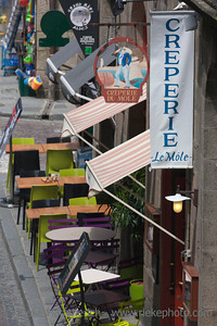 SAINT-MALO, FRANCE - JULY 6: High angle view of creperie 'Le Mole' in the old town of Saint-Malo, France on July 6, 2011. Today Saint-Malo is the main tourist attraction of Brittany in France.