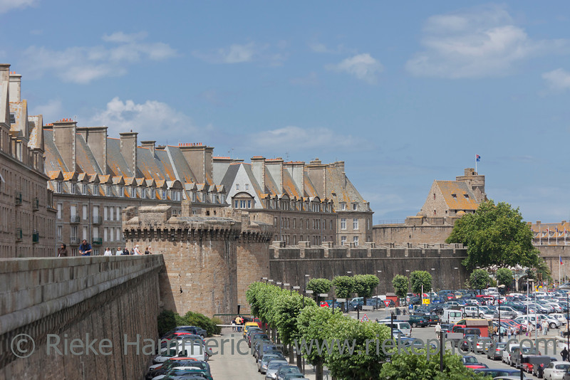 SAINT-MALO, FRANCE - JULY 6: View from the city wall over car parks and Intra Muros, the old town of Saint-Malo, France on July 6, 2011. Today Saint-Malo is the main tourist attraction of Brittany.