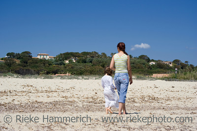 mother and daughter at the beach - saint-tropez, french riviera - adobe RGB