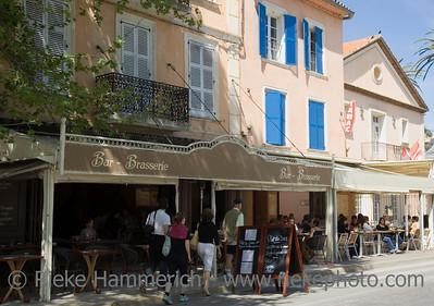 pavement cafe in saint-tropez - french riviera, mediterranean sea - adobe RGB