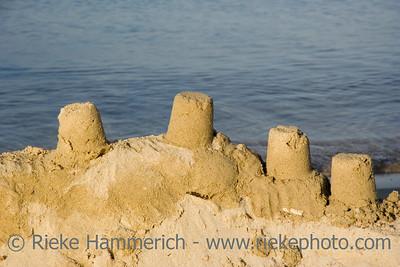 sand castle on the beach - in the setting sun - adobe RGB