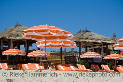 beach huts and umbrellas - saint-tropez, french riviera - adobe RGB