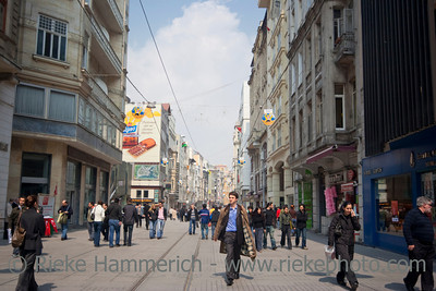 People walking on Istiklal Caddesi - Shopping Street in Istanbul,Turkey, Europe