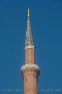 Minaret of Hagia Sophia in Istanbul - Sultanahmet District, Istanbul, Turkey, Europe