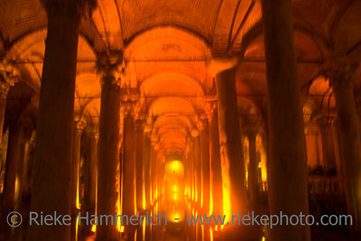Magical Lights in Basilica Cistern - Yerebatan Sarayi, Sultanahmet District, Istanbul, Turkey, Europe