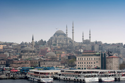Cityscape of Istanbul, Turkey - With Suleymaniye Mosque and Ferries