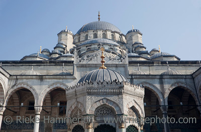 Domes of Yeni Cami Mosque in Istanbul - Eminonu, Istanbul, Turkey, Europe