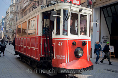 Old Tram on Istiklal Caddesi - Shopping Street in Istanbul,Turkey, Europe