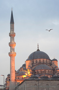 Yeni Cami Mosque or New Mosque at Dusk - Istanbul, Turkey, Europe