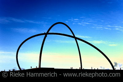 Modern Horizon Observatory on Halde Hoheward - Herten, North Rhine-Westphalia, Germany - The Observing Centre is spanned by two large Semi Arcs representing the local Meridian and the celestial Equator