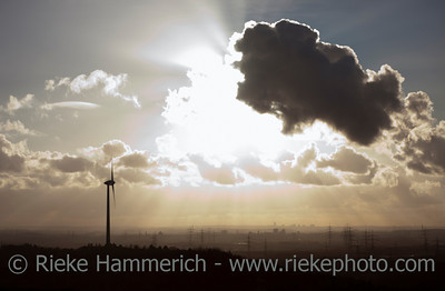 Panoramic View of Wind Turbine on Heap in an Industrial Area - Recklinghausen, North Rhine-Westphalia, Germany