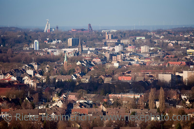 Cityscape of Recklinghausen - View from Halde Hoheward, Herten, North Rhine-Westphalia, Germany
