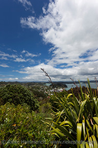 View over Russell and Bay of Islands - Panorama from Flagstiff Hill in Northland, North Island, New Zealand