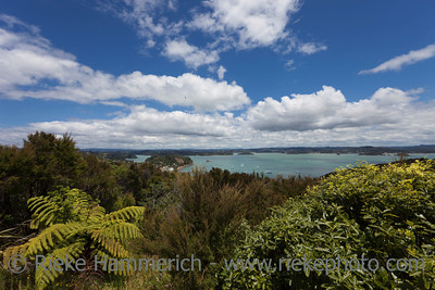 Bay of Islands Panorama - View from Flagstiff Hill in Russell, Northland, North Island, New Zealand