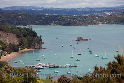 View over Russell and Bay of Islands - Panorama in Northland, North Island, New Zealand