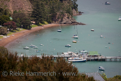 View over Beach and Harbor in Russell - Panorama in Northland, North Island, New Zealand