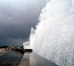 This is one of the waves created by Hurricane Wilma when it side-swiped Havana in 2005. You can see some incredible waves hitting the malecon by  click here to see Wilma Hit Havana in 2005