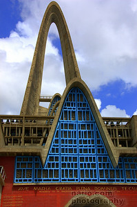 The uniquely constructed and shaped bell tower has 45 bronze bells ranging in size.