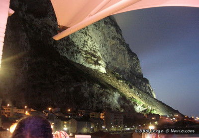 the big rock (of Gibraltar) at night on the night Italy won the Cup