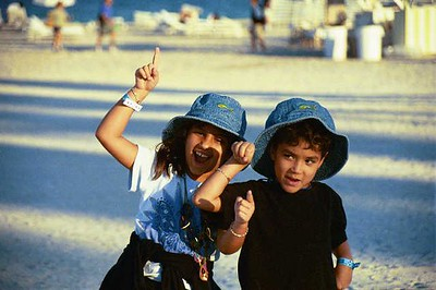 The kids styling in Miami Beach (break from the boat show).