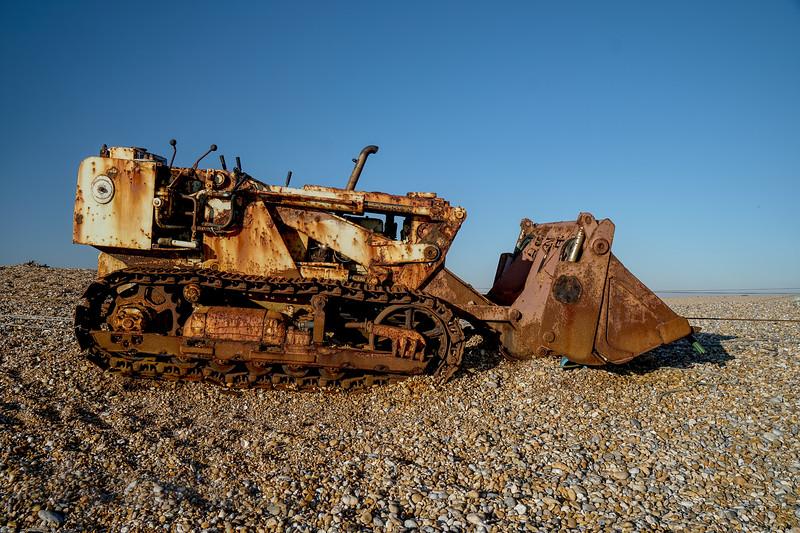 Bulldozer on Dungeness Beach